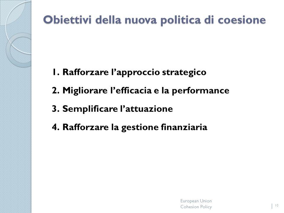 European Union Cohesion Policy 10 Obiettivi della nuova politica di coesione 1.Rafforzare lapproccio strategico 2.Migliorare lefficacia e la performance 3.Semplificare lattuazione 4.Rafforzare la gestione finanziaria