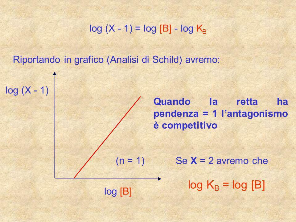 log (X - 1) =log[B] -log K B Riportando in grafico (Analisi di Schild) avremo: log (X - 1) log [B] (n = 1) Se X = 2 avremo che Quando la retta ha pend