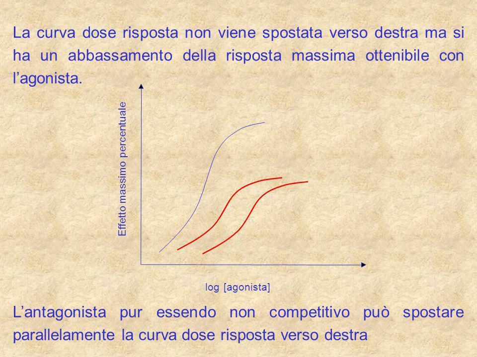 La curva dose risposta non viene spostata verso destra ma si ha un abbassamento della risposta massima ottenibile con lagonista. log [agonista] Effett