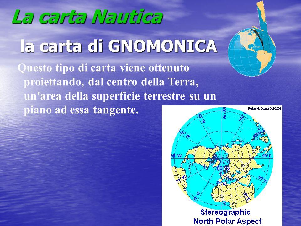 La carta Nautica la carta di GNOMONICA la carta di GNOMONICA Questo tipo di carta viene ottenuto proiettando, dal centro della Terra, un'area della su