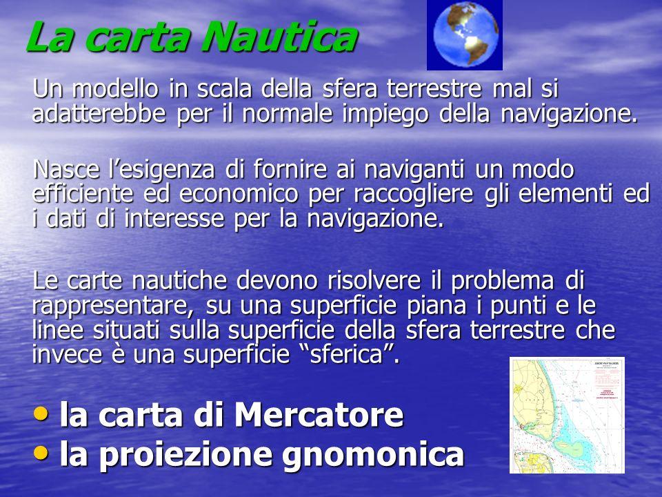 La carta Nautica Un modello in scala della sfera terrestre mal si adatterebbe per il normale impiego della navigazione. Nasce lesigenza di fornire ai