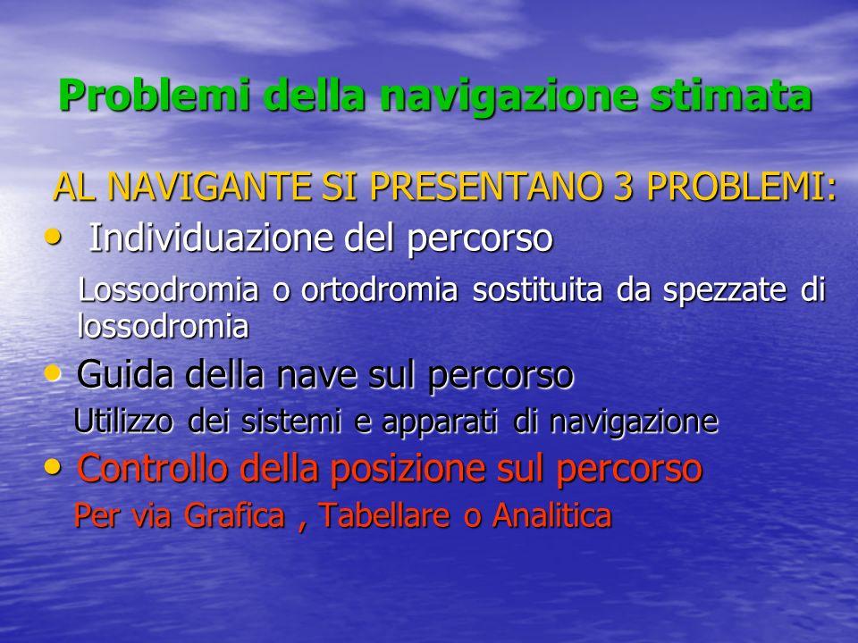 Problemi della navigazione stimata Problemi della navigazione stimata AL NAVIGANTE SI PRESENTANO 3 PROBLEMI: Individuazione del percorso Individuazion