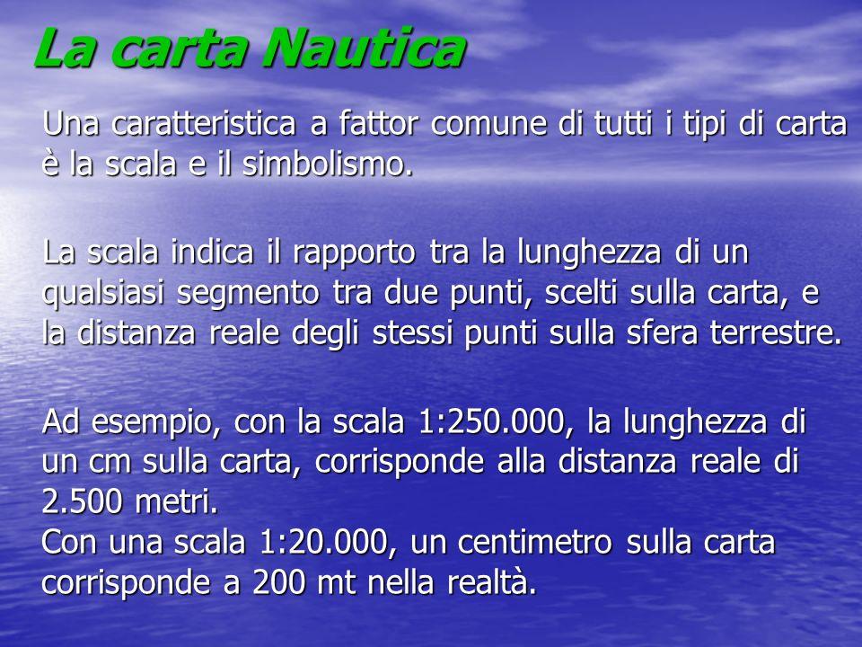 La carta Nautica Una caratteristica a fattor comune di tutti i tipi di carta è la scala e il simbolismo. La scala indica il rapporto tra la lunghezza