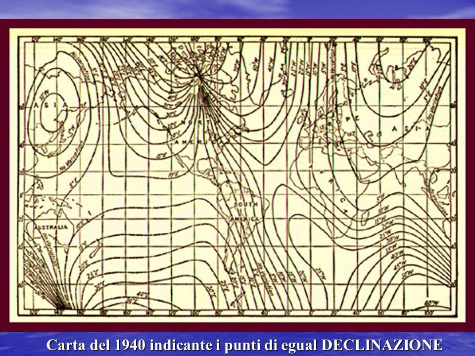 LA BUSSOLA MAGNETICA DECLINAZIONE MAGNETICA (d) Errore tra Nord vero e Nord magnetico (varia da luogo a luogo da 0°+-180°) Si definisce + la declinazi