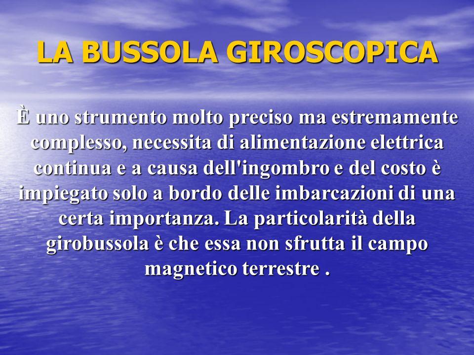 LA BUSSOLA GIROSCOPICA È uno strumento molto preciso ma estremamente complesso, necessita di alimentazione elettrica continua e a causa dell'ingombro