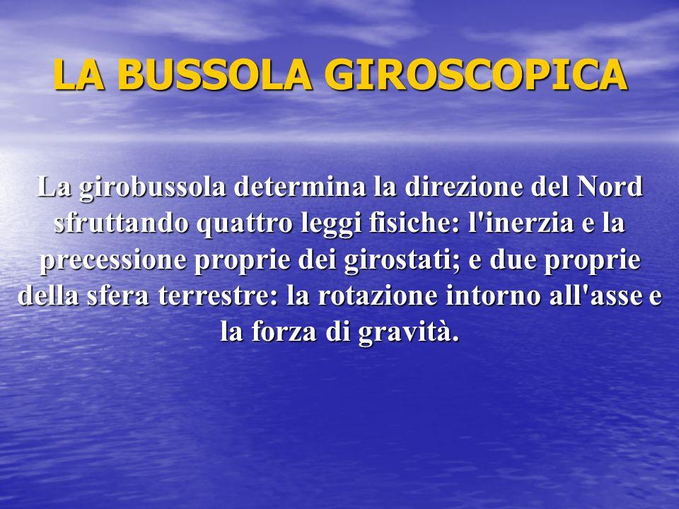 LA BUSSOLA GIROSCOPICA La girobussola determina la direzione del Nord sfruttando quattro leggi fisiche: l'inerzia e la precessione proprie dei girosta