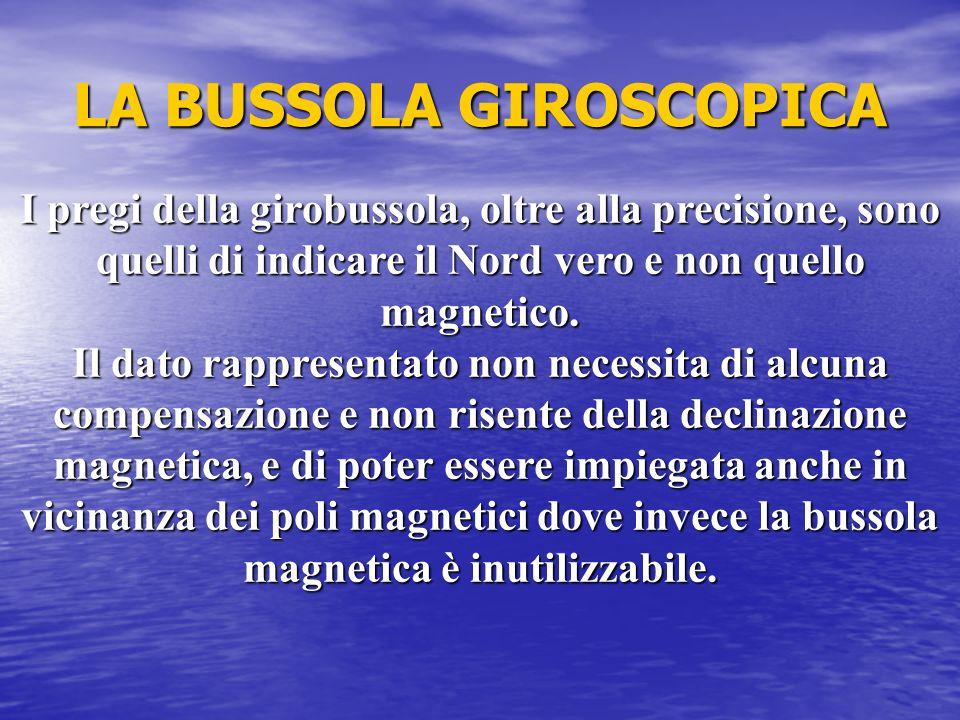 LA BUSSOLA GIROSCOPICA I pregi della girobussola, oltre alla precisione, sono quelli di indicare il Nord vero e non quello magnetico. Il dato rapprese
