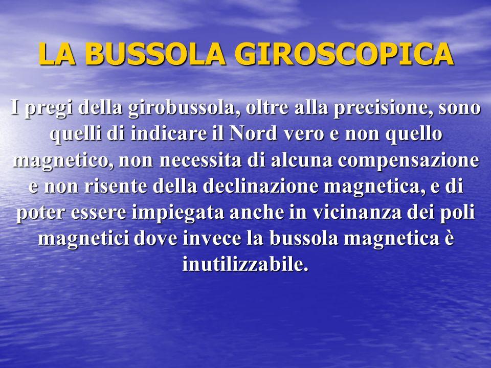 LA BUSSOLA GIROSCOPICA I pregi della girobussola, oltre alla precisione, sono quelli di indicare il Nord vero e non quello magnetico, non necessita di