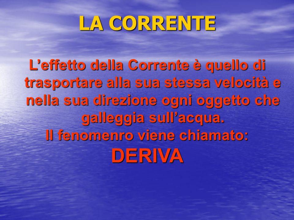 LA CORRENTE Leffetto della Corrente è quello di trasportare alla sua stessa velocità e nella sua direzione ogni oggetto che galleggia sullacqua. Il fe