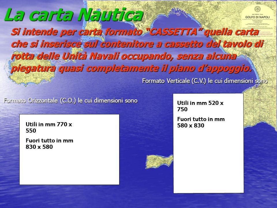 La carta Nautica Si intende per carta formato CASSETTA quella carta che si inserisce sul contenitore a cassetto del tavolo di rotta delle Unità Navali
