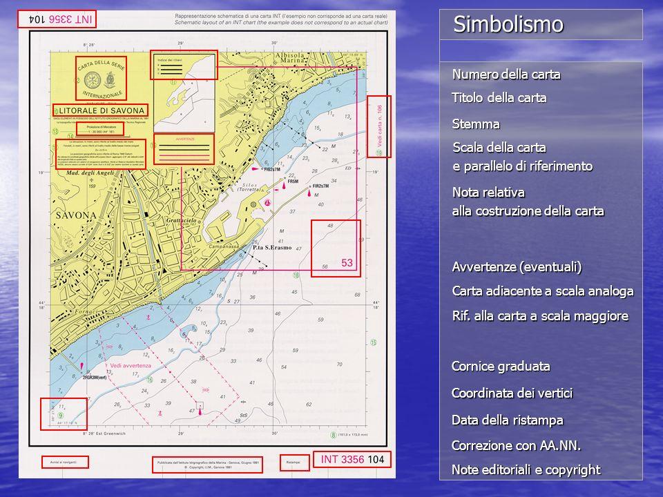 Numero della carta Titolo della carta Stemma Scala della carta e parallelo di riferimento Nota relativa alla costruzione della carta Carta adiacente a
