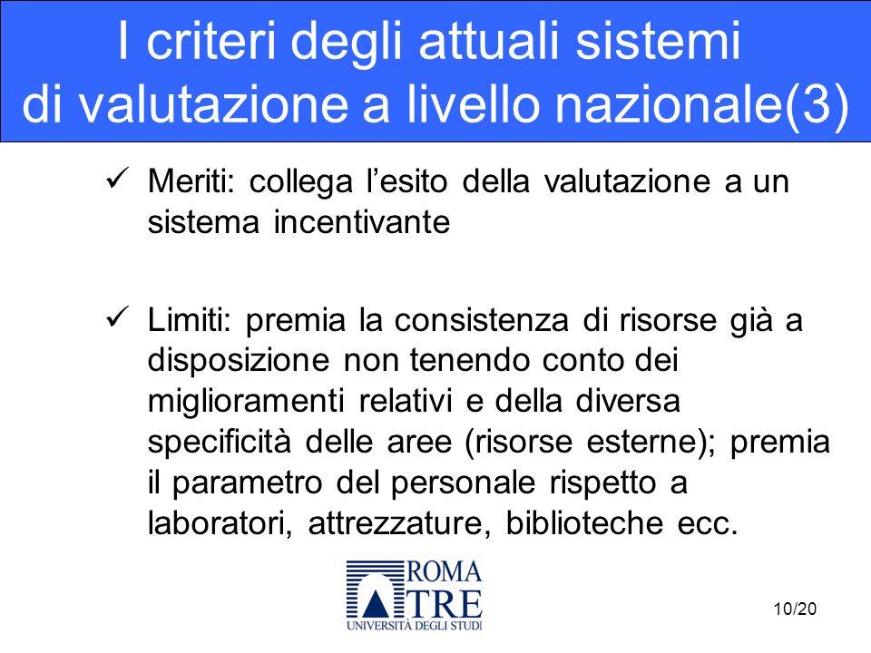 Meriti: collega lesito della valutazione a un sistema incentivante Limiti: premia la consistenza di risorse già a disposizione non tenendo conto dei m