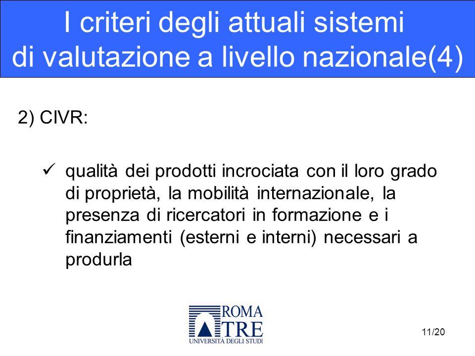 2) CIVR: qualità dei prodotti incrociata con il loro grado di proprietà, la mobilità internazionale, la presenza di ricercatori in formazione e i fina