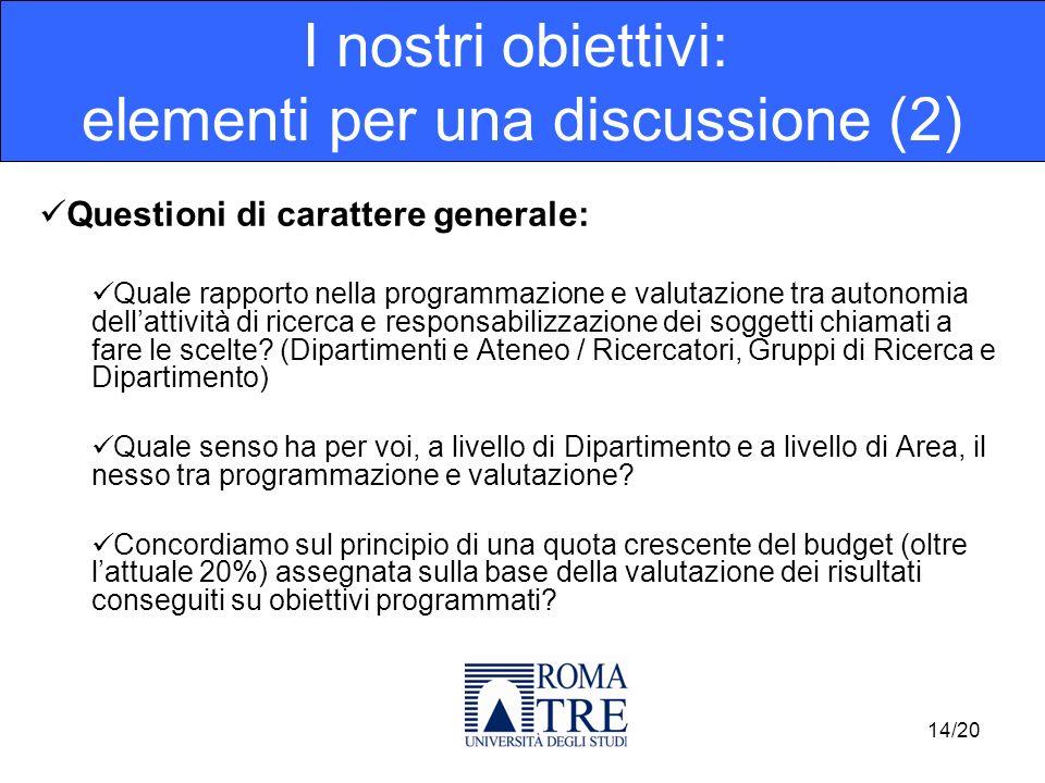 Questioni di carattere generale: Quale rapporto nella programmazione e valutazione tra autonomia dellattività di ricerca e responsabilizzazione dei soggetti chiamati a fare le scelte.