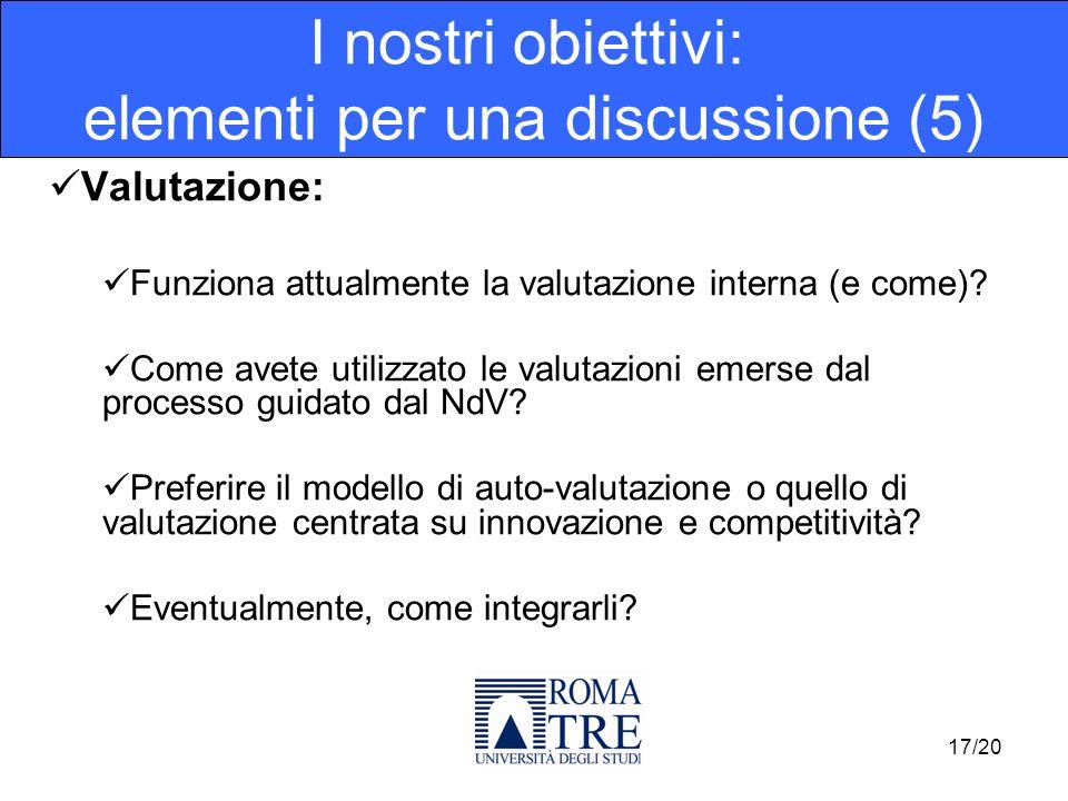 Valutazione: Funziona attualmente la valutazione interna (e come)? Come avete utilizzato le valutazioni emerse dal processo guidato dal NdV? Preferire