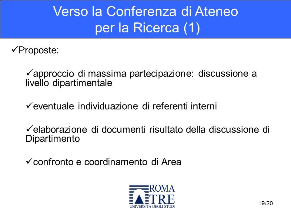 Proposte: approccio di massima partecipazione: discussione a livello dipartimentale eventuale individuazione di referenti interni elaborazione di docu