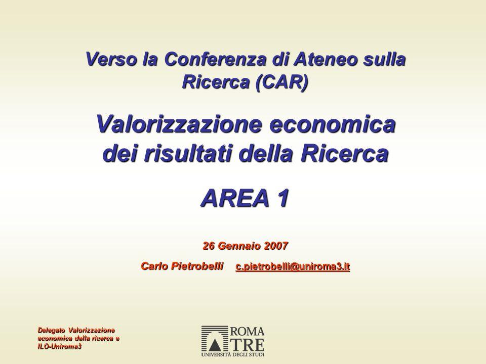 Delegato Valorizzazione economica della ricerca e ILO-Uniroma3 Verso la Conferenza di Ateneo sulla Ricerca (CAR) Valorizzazione economica dei risultat