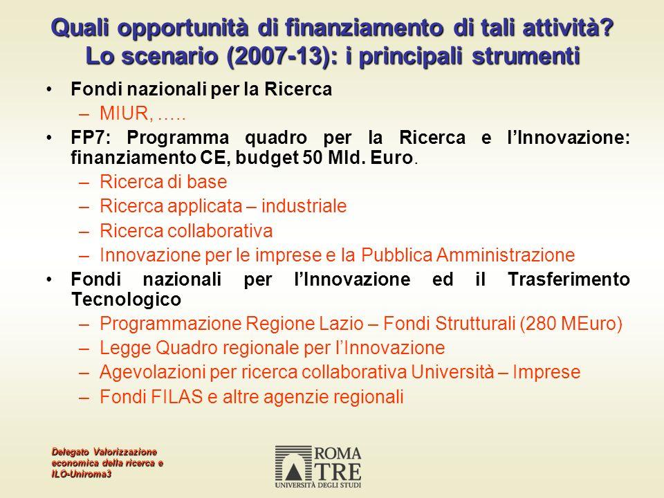 Delegato Valorizzazione economica della ricerca e ILO-Uniroma3 Quali opportunità di finanziamento di tali attività? Lo scenario (2007-13): i principal