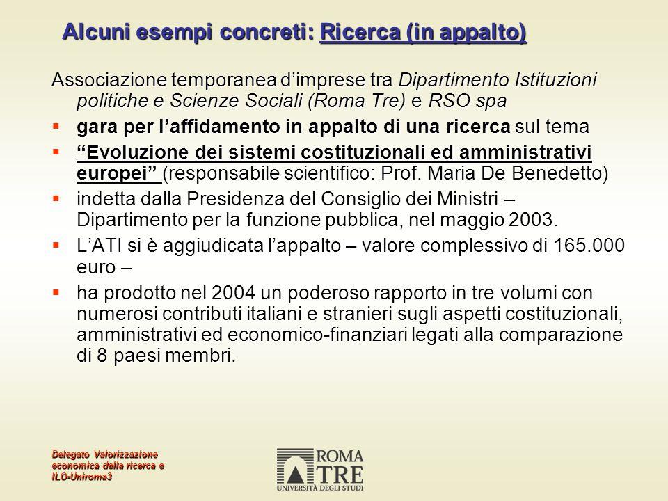 Delegato Valorizzazione economica della ricerca e ILO-Uniroma3 Alcuni esempi concreti: Ricerca (in appalto) Associazione temporanea dimprese tra Dipar