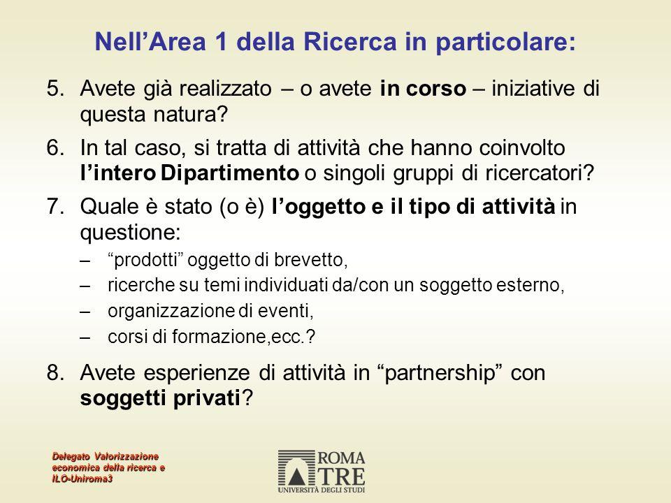 Delegato Valorizzazione economica della ricerca e ILO-Uniroma3 NellArea 1 della Ricerca in particolare: 5.Avete già realizzato – o avete in corso – iniziative di questa natura.