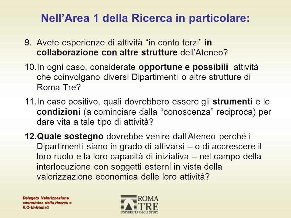 Delegato Valorizzazione economica della ricerca e ILO-Uniroma3 NellArea 1 della Ricerca in particolare: 9.Avete esperienze di attività in conto terzi in collaborazione con altre strutture dellAteneo.