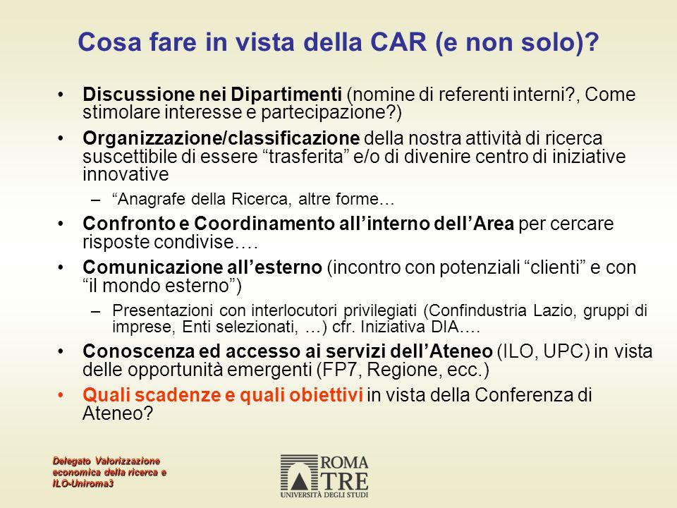 Delegato Valorizzazione economica della ricerca e ILO-Uniroma3 Cosa fare in vista della CAR (e non solo)? Discussione nei Dipartimenti (nomine di refe