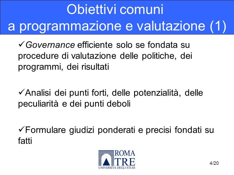 Governance efficiente solo se fondata su procedure di valutazione delle politiche, dei programmi, dei risultati Analisi dei punti forti, delle potenzi