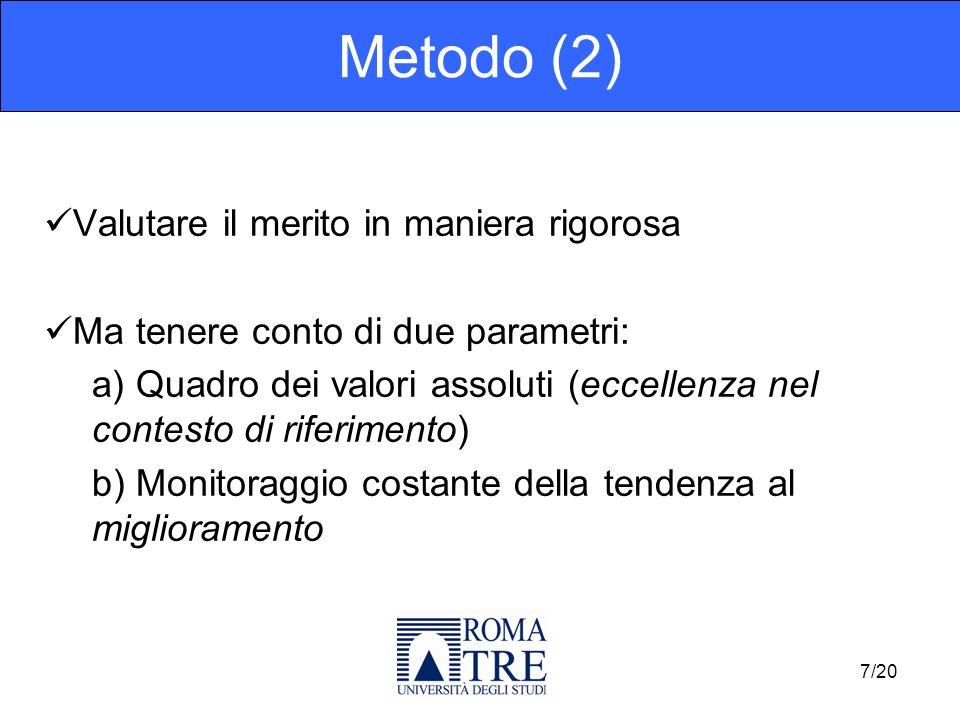Valutare il merito in maniera rigorosa Ma tenere conto di due parametri: a) Quadro dei valori assoluti (eccellenza nel contesto di riferimento) b) Monitoraggio costante della tendenza al miglioramento Metodo (2) 7/20