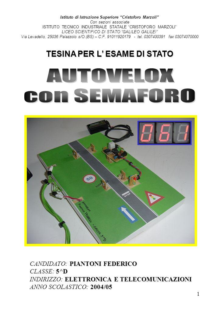 2 sommario SOMMARIO Introduzione Pag.3 Principio di funzionamento Pag.4 Componenti optoelettronici Pag.6 Flip-flop Pag.11 Microcontrollore HC08 Pag.12 Programmazione Pag.14 Amplificatore operazionale Pag.20 Convertitore A/D Pag.21 Driver display Pag.21 Display 7 segmenti led Pag.23 Schema circuitale autovelox Pag.24 Semaforo Pag.25 Alimentazione Pag.26 Schema circuitale semaforo e alimentazione Pag.27 Problemi riscontrati e osservazioni Pag.28
