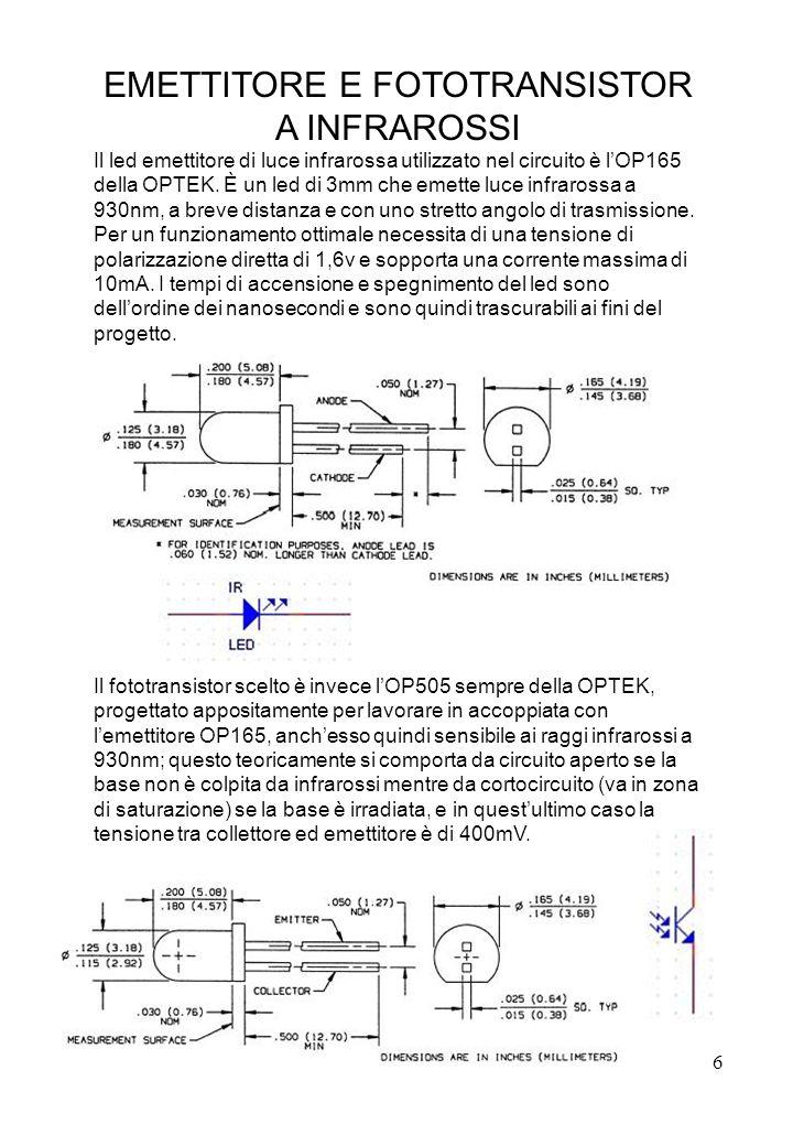 6 EMETTITORE E FOTOTRANSISTOR A INFRAROSSI Il led emettitore di luce infrarossa utilizzato nel circuito è lOP165 della OPTEK. È un led di 3mm che emet