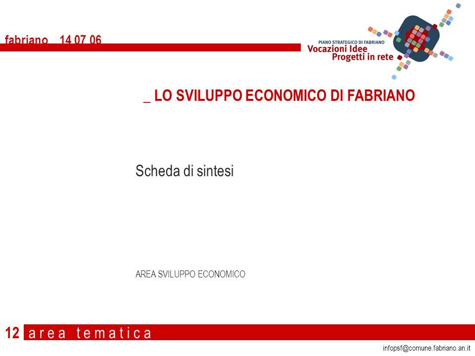 a r e a t e m a t i c a fabriano 14 07 06 12 Scheda di sintesi AREA SVILUPPO ECONOMICO _ LO SVILUPPO ECONOMICO DI FABRIANO infopsf@comune.fabriano.an.