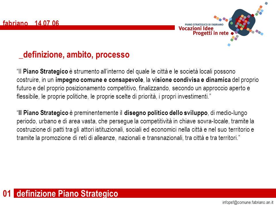 definizione Piano Strategico fabriano 14 07 06 01 Il Piano Strategico è strumento allinterno del quale le città e le società locali possono costruire,