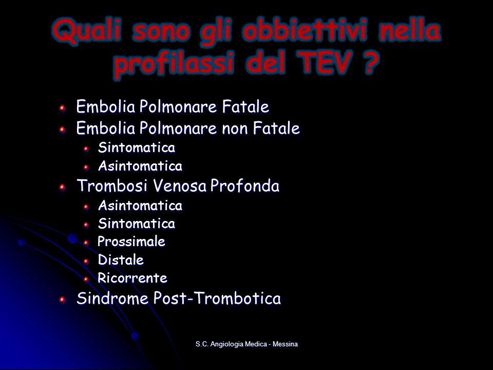 Embolia Polmonare Fatale Embolia Polmonare non Fatale SintomaticaAsintomatica Trombosi Venosa Profonda AsintomaticaSintomaticaProssimaleDistaleRicorre