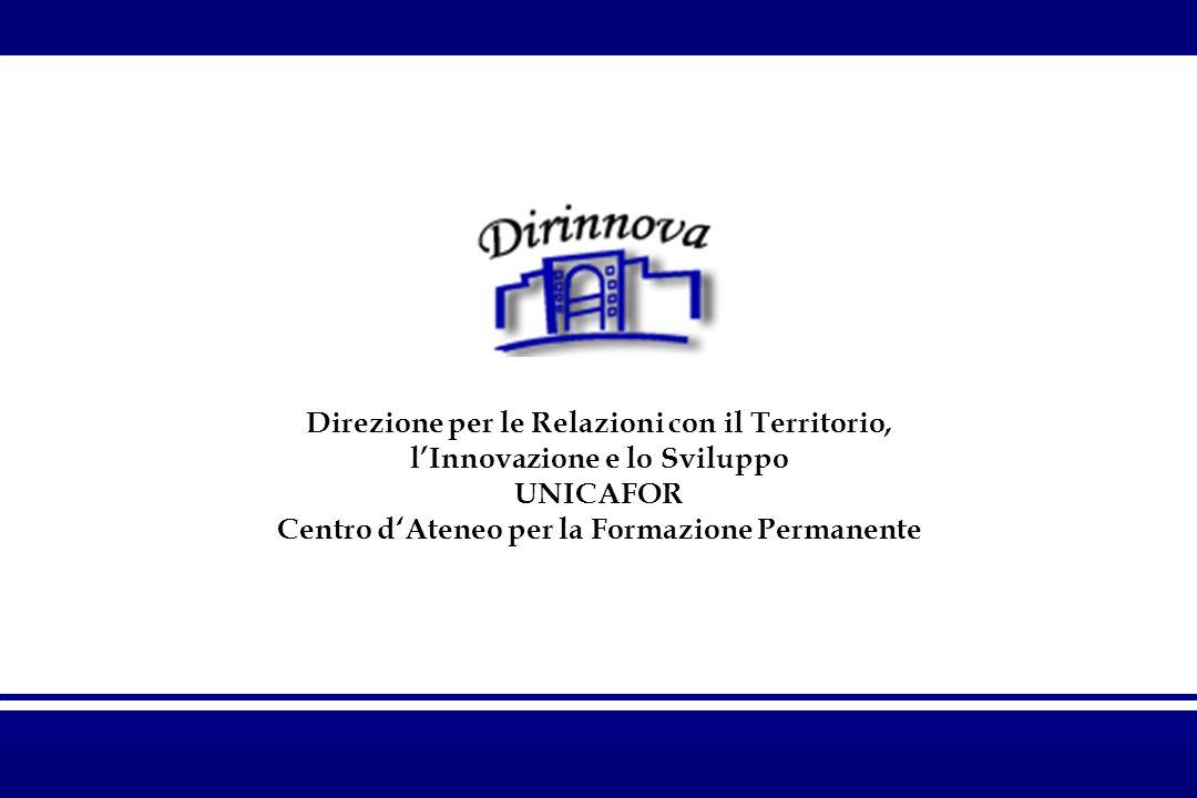 Direzione per le Relazioni con il Territorio, lInnovazione e lo Sviluppo UNICAFOR Centro dAteneo per la Formazione Permanente