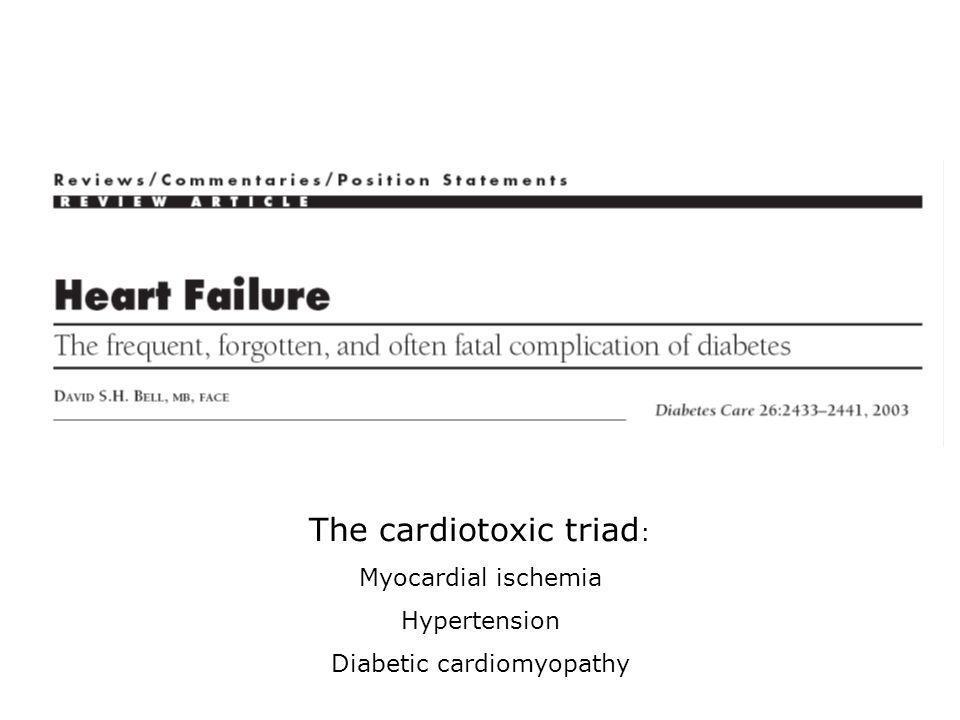 The cardiotoxic triad : Myocardial ischemia Hypertension Diabetic cardiomyopathy