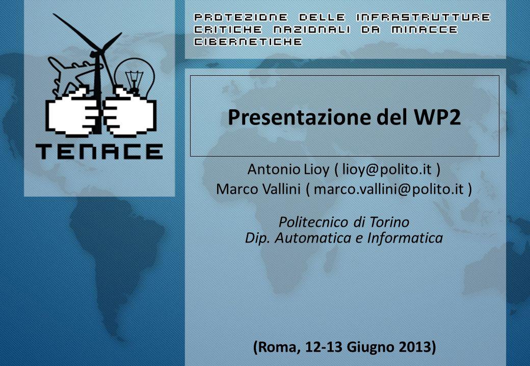 Presentazione del WP2 Antonio Lioy ( lioy@polito.it ) Marco Vallini ( marco.vallini@polito.it ) Politecnico di Torino Dip. Automatica e Informatica (R