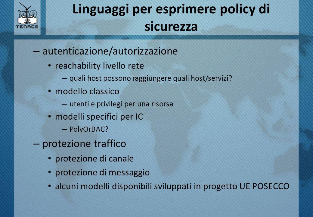 Linguaggi per esprimere policy di sicurezza – autenticazione/autorizzazione reachability livello rete – quali host possono raggiungere quali host/serv