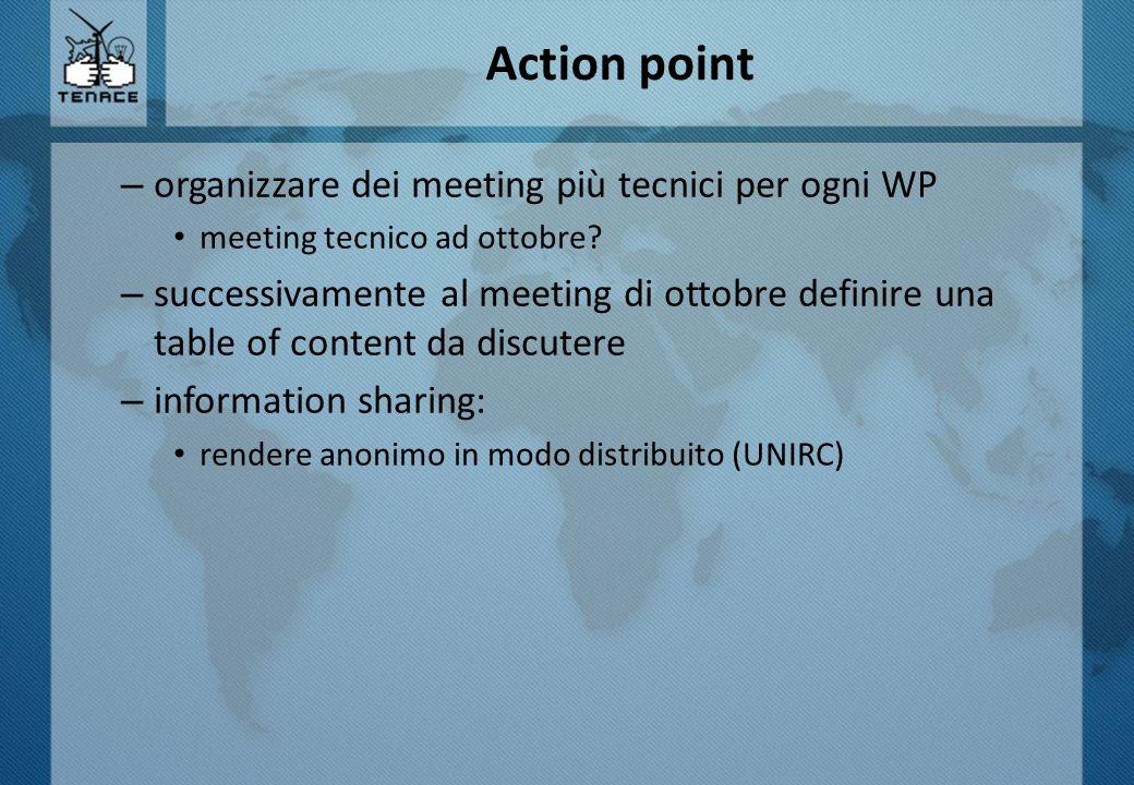 Action point – organizzare dei meeting più tecnici per ogni WP meeting tecnico ad ottobre? – successivamente al meeting di ottobre definire una table