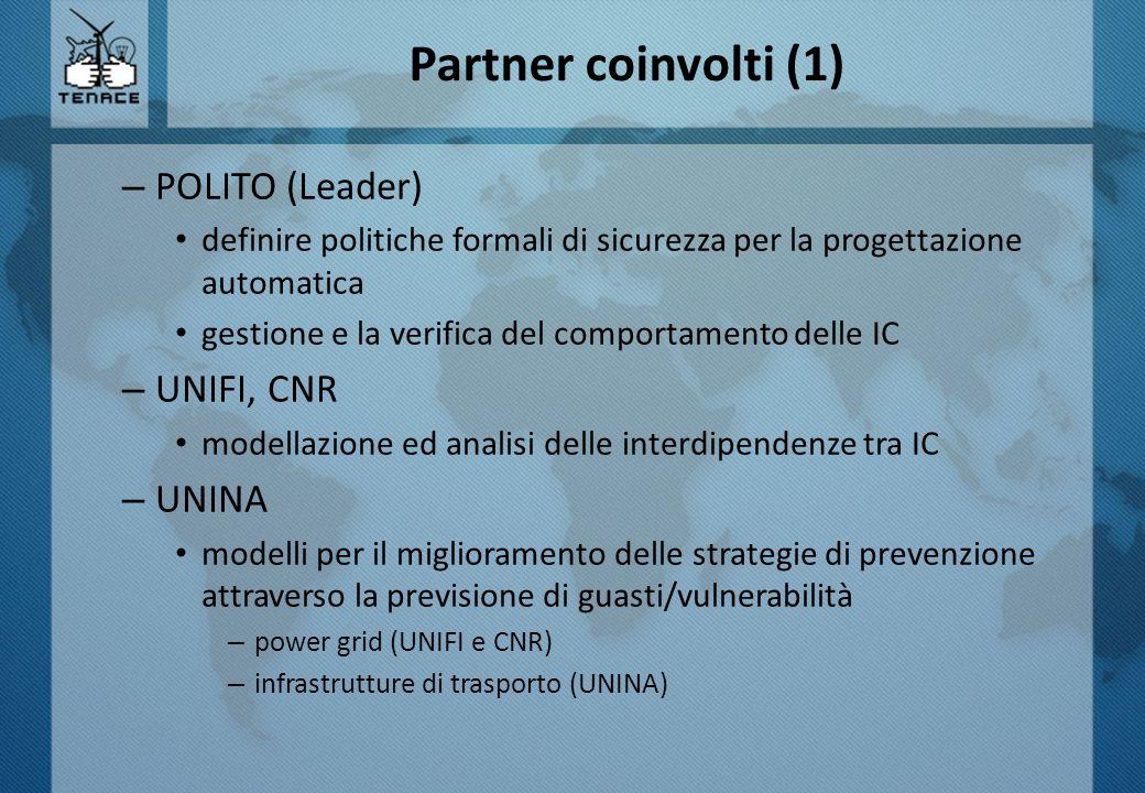 Partner coinvolti (1) – POLITO (Leader) definire politiche formali di sicurezza per la progettazione automatica gestione e la verifica del comportamen