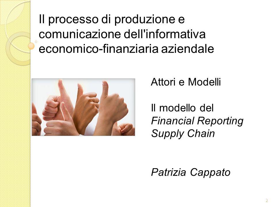 Attori e Modelli Il modello del Financial Reporting Supply Chain Patrizia Cappato 2 Il processo di produzione e comunicazione dell informativa economico-finanziaria aziendale