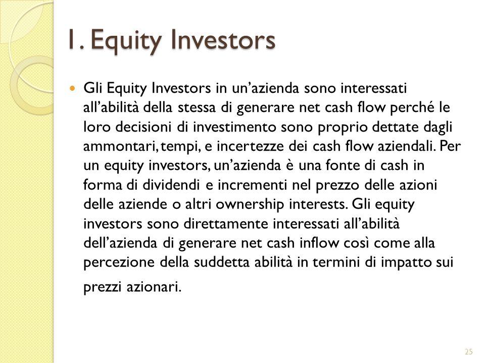 1. Equity Investors Gli Equity Investors in unazienda sono interessati allabilità della stessa di generare net cash flow perché le loro decisioni di i