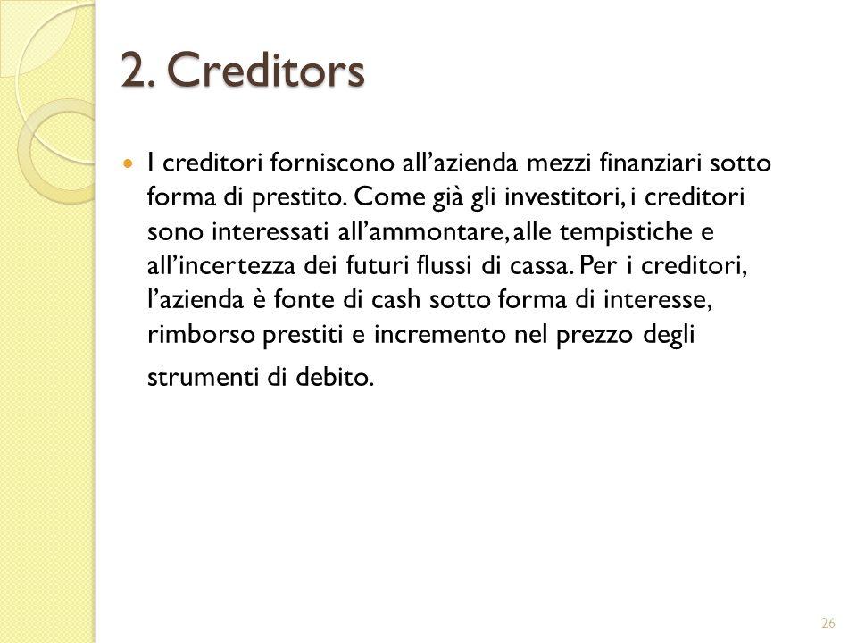 2. Creditors I creditori forniscono allazienda mezzi finanziari sotto forma di prestito.