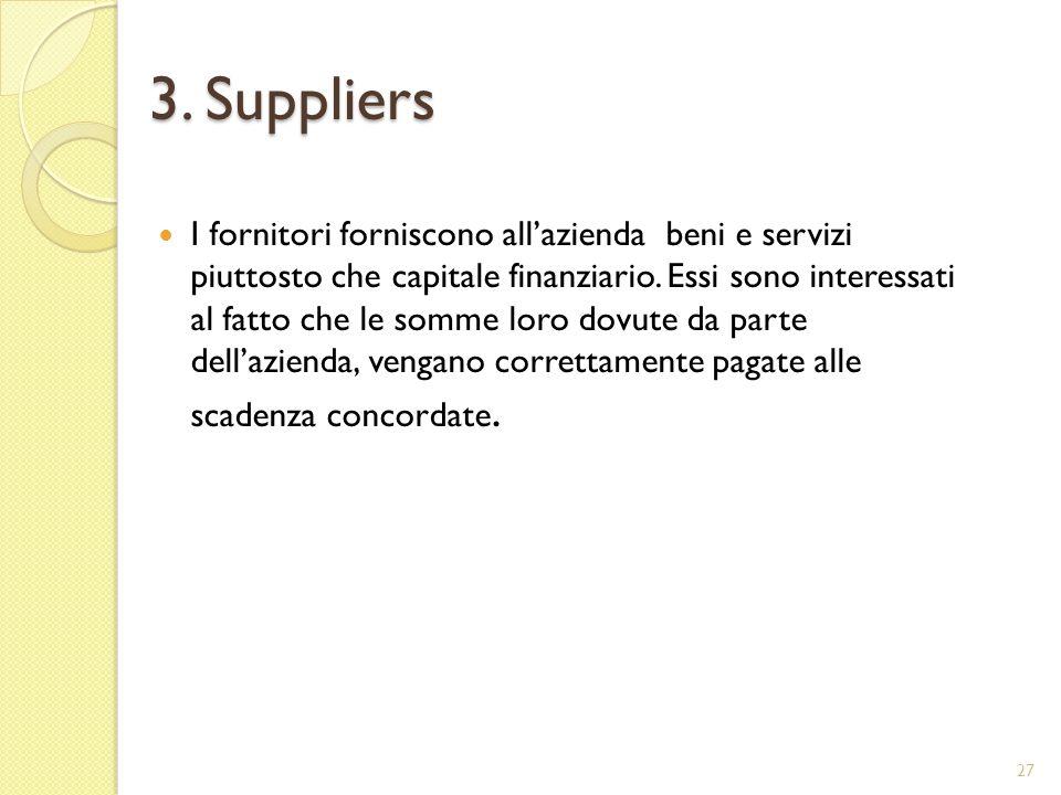 3. Suppliers I fornitori forniscono allazienda beni e servizi piuttosto che capitale finanziario.