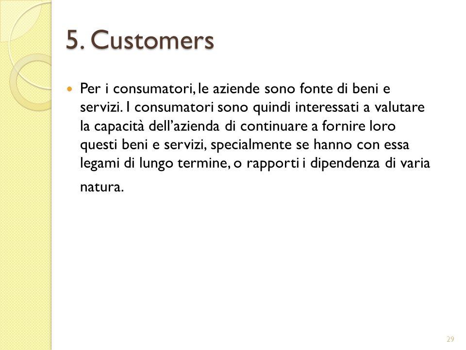 5. Customers Per i consumatori, le aziende sono fonte di beni e servizi.
