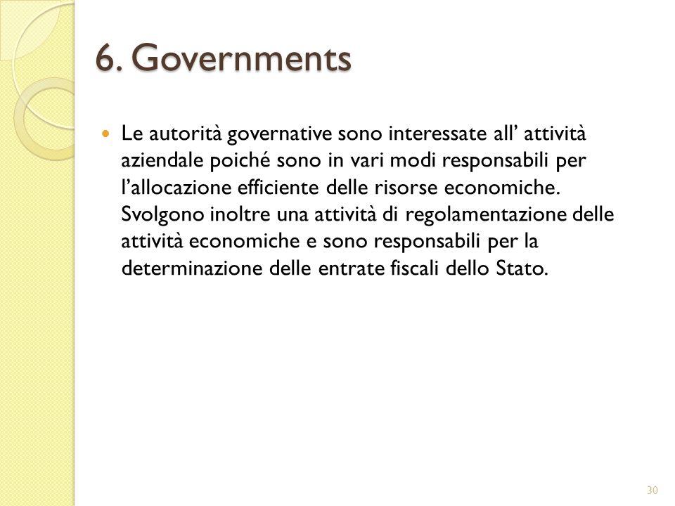 6. Governments Le autorità governative sono interessate all attività aziendale poiché sono in vari modi responsabili per lallocazione efficiente delle