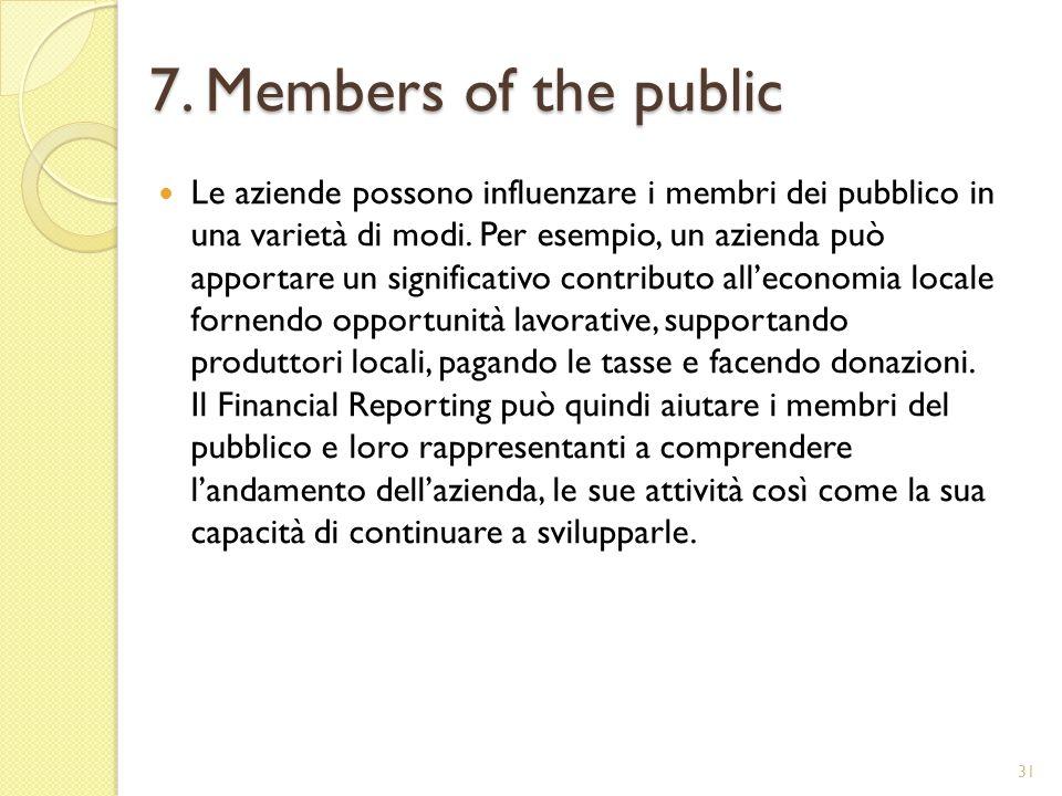 7. Members of the public Le aziende possono influenzare i membri dei pubblico in una varietà di modi. Per esempio, un azienda può apportare un signifi