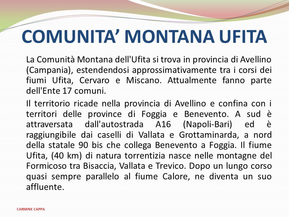COMUNITA MONTANA UFITA La Comunità Montana dell'Ufita si trova in provincia di Avellino (Campania), estendendosi approssimativamente tra i corsi dei f