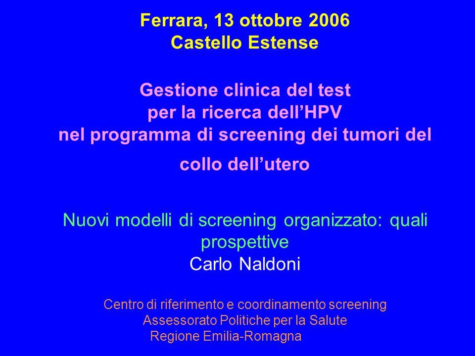 Ferrara, 13 ottobre 2006 Castello Estense Gestione clinica del test per la ricerca dellHPV nel programma di screening dei tumori del collo dellutero N