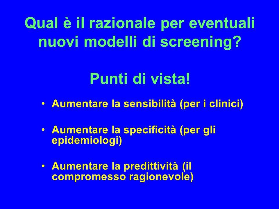 Qual è il razionale per eventuali nuovi modelli di screening? Punti di vista! Aumentare la sensibilità (per i clinici) Aumentare la specificità (per g