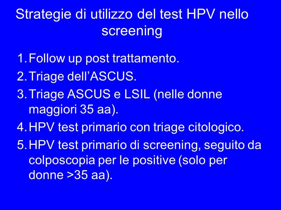 Strategie di utilizzo del test HPV nello screening 1.Follow up post trattamento. 2.Triage dellASCUS. 3.Triage ASCUS e LSIL (nelle donne maggiori 35 aa